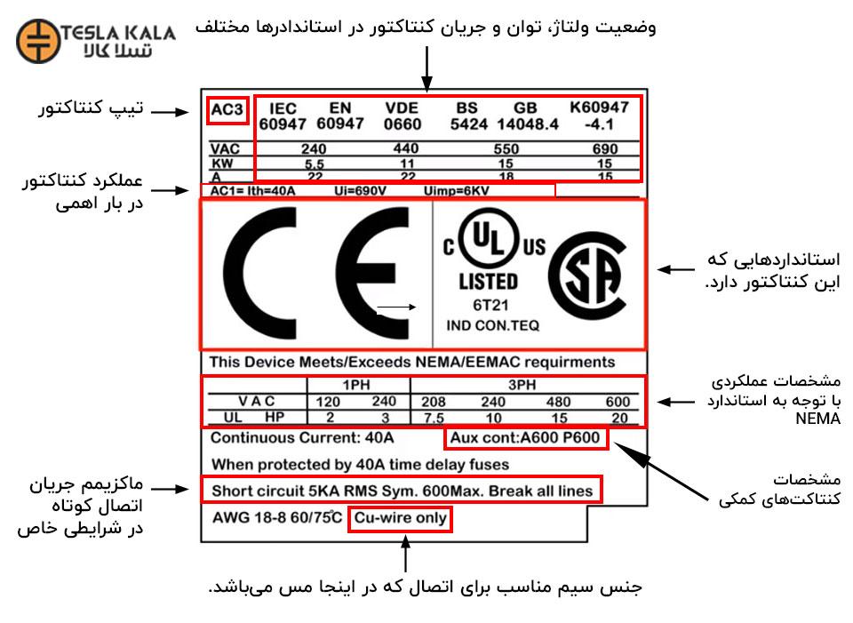 مشخصات روی پلاک کنتاکتور قدرت