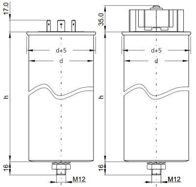 خازن سه فاز فشار ضعیف سیلندری قطر 85 فراکو 400x382 - خازن سه فاز فشار ضعیف فراکو 25 کیلووار  LKT30-440DP
