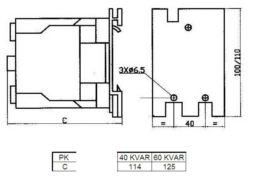 کنتاکتور خازنی 60کیلوواری TC با برند PKC