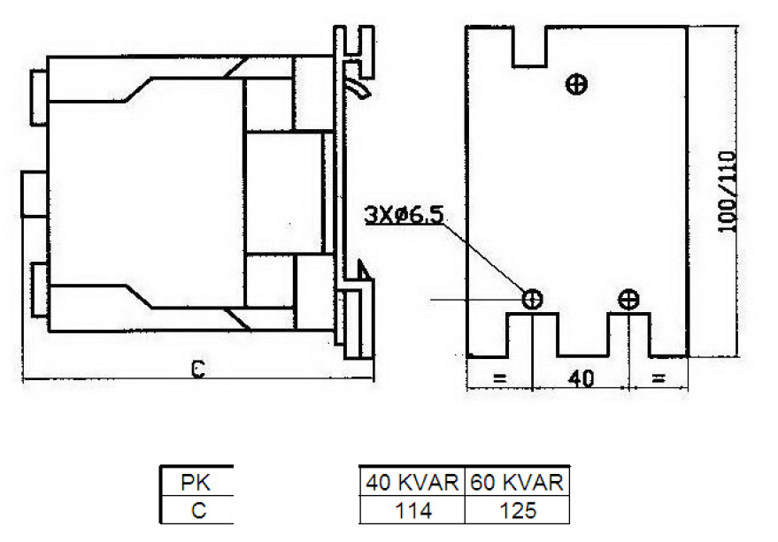40 60 kvar draw 1 - کنتاکتور خازنی 60کیلوواری TC با برند PKC