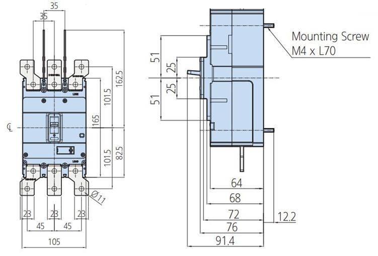 کلید اتوماتیک،کمپکت 250 آمپر،غیرقابل تنظیم حرارتی -مغناطیسی HYUNDAI مدل HGM