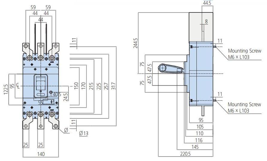 کلید اتوماتیک،کمپکت 300 آمپر،غیرقابل تنظیم حرارتی -مغناطیسی HYUNDAI مدل HGM
