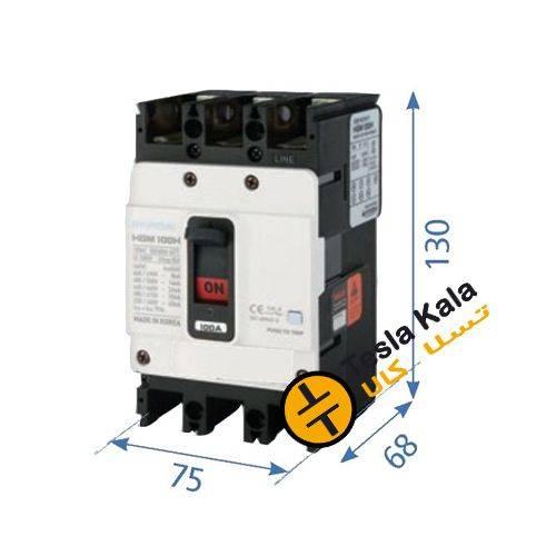f 130 - کلید اتوماتیک،کمپکت 40 آمپر،غیرقابل تنظیم حرارتی-مغناطیسی HYUNDAI HGM 16KA