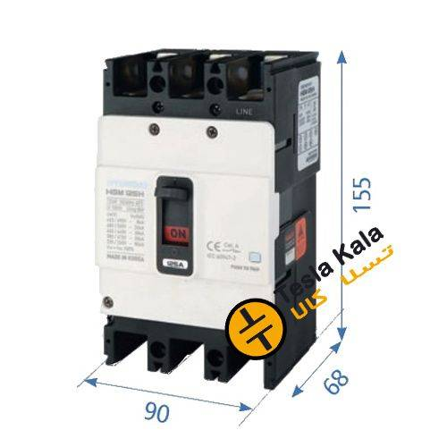 کلید اتوماتیک،کمپکت 100 آمپر،غیرقابل تنظیم حرارتی -مغناطیسی HYUNDAI  HGM  38KA