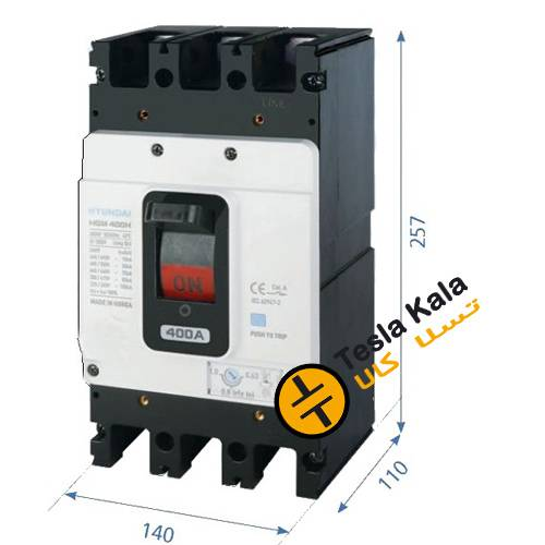 f 257 tanz - کلیداتوماتیک،کمپکت 400 آمپر،قابل تنظیم حرارتی-ثابت مغناطیسی HYUNDAIمدلHGM