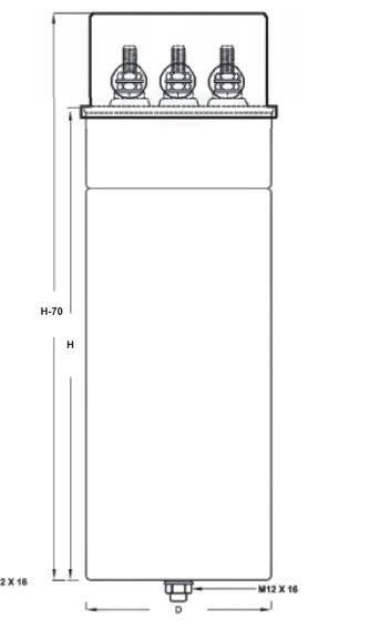 خازن 3فاز فشارضعیف سیلندری گازی، پارس شریم ، 40 کیلووار در 440 ولت (30 در 400)