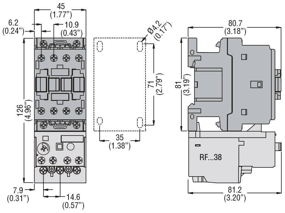 کنتاکتور قدرت، 12 آمپر، 5.5 کیلووات، بوبین 230VAC ، برند لواتو ایتالیا LOVATO – BF12