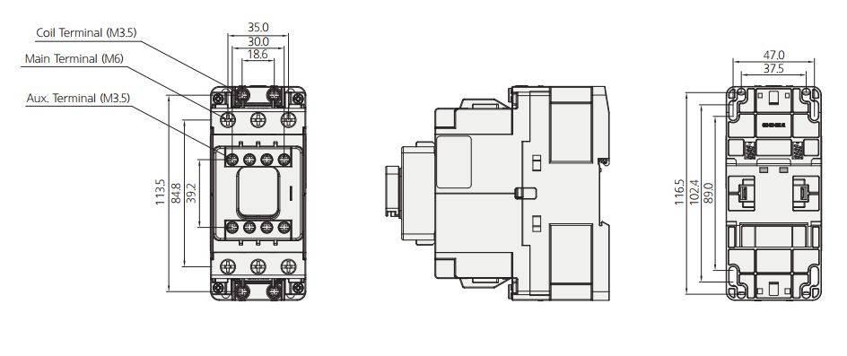 کنتاکتور قدرت، 50 آمپر، 22کیلووات، بوبین 24 تا 380 VAC، برند هیوندای مدل HGC