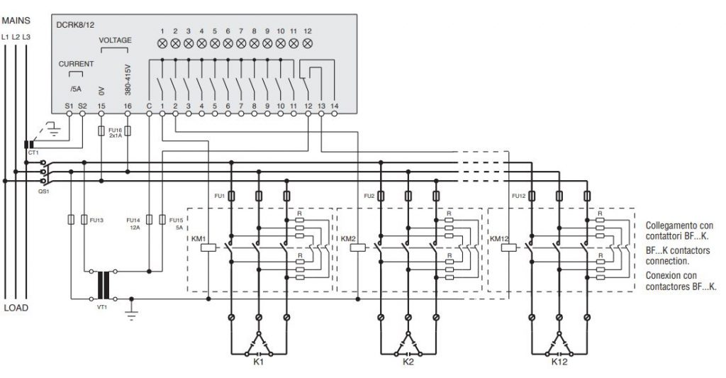 DCRK 812 1 - رگولاتور بانک خازنی، 12 پله لواتو ایتالیا LOVATO مدل DCRK12