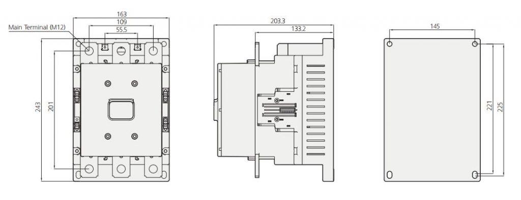 HGC 500 DIM - کنتاکتور قدرت، 400 آمپر، 220 کیلووات، بوبین 100-220 AC/DC برند هیوندای مدل HGC