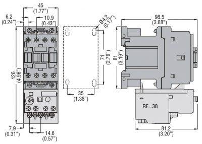 کنتاکتور قدرت، 25 آمپر، 11 کیلووات، بوبین 110VDC، برند لواتو ایتالیا LOVATO - BF25
