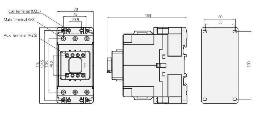 کنتاکتور قدرت، 85 آمپر، 55 کیلووات، بوبین 24 تا 380 VAC، برند هیوندای مدل HGC