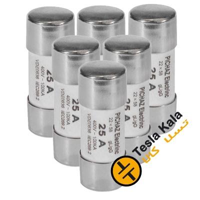 مجموعه شش تایی فیوز سیلندری 2 تا 100 آمپر پیچاز الکتریک 58*22 gG/gL