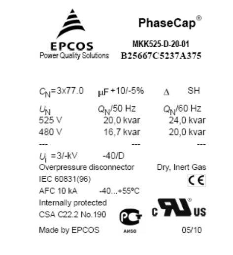 خازن سه فاز فشار ضعیف گازی اپکاس، 20 کیلووار، 525 ولت EPCOS