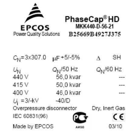 3 - خازن سه فاز فشار ضعیف گازی اپکاس ،46کیلووار (56کیلووار در 440 ولت) EPCOS