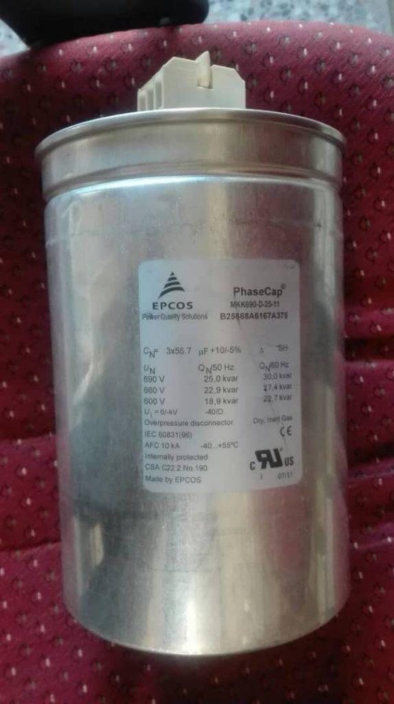 خازن سه فاز فشار ضعیف گازی اپکاس، 25 کیلووار، 690 ولت EPCOS