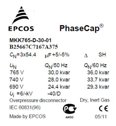 Capture 1 - خازن سه فاز فشار ضعیف گازی اپکاس، 30 کیلووار، 765 ولت EPCOS