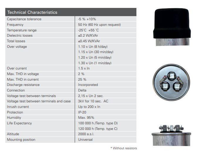 خازن 3فاز فشارضعیف، 2.5 کیلووار 440 ولت، RTR اسپانیا مدل MA.C.CE