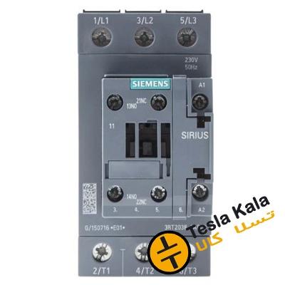 کنتاکتور قدرت، 50 آمپر، 22 کیلووات، بوبین 230VAC ،مدل SIEMENS 3RT2036-1AP00
