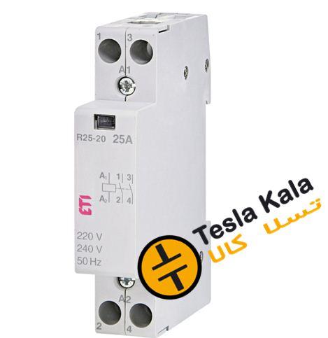 کنتاکتور تکفاز ( دو پل ) 25 آمپر برند ETI ولتاژ کنترل230 VAC مدل R 25-20