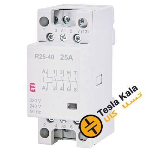 کنتاکتور تکفاز ( چهار پل ) 25 آمپر برند ETI ولتاژ کنترل230 VACمدل R 25-40
