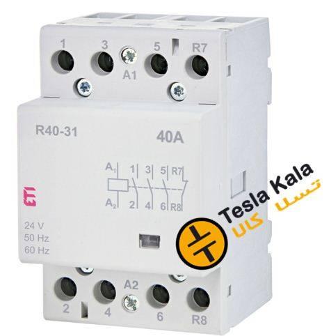 کنتاکتور تکفاز ( چهار پل ) 40 آمپر برند ETI ولتاژ کنترل230 VAC مدل R 40-31