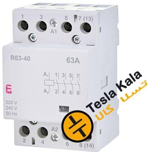 کنتاکتور تکفاز ( چهار پل ) 63 آمپر برند ETI ولتاژ کنترل230 VAC مدل R 63-40