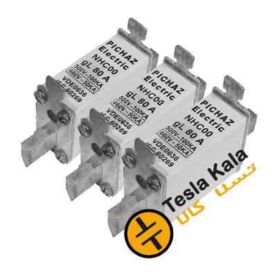 مجموعه سه تایی فیوز کاردی 16 تا 160 آمپر gG/gL پیچاز الکتریک C00/NT00 (پایه کوتاه)