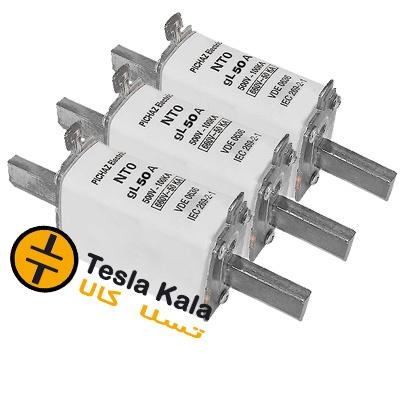 مجموعه سه تایی فیوز کاردی 50 تا 160 آمپر gG/gL پیچاز الکتریک NT0 (پایه بلند)