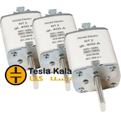 مجموعه سه تایی فیوز کاردی 200 تا 400 آمپر gG/gL پیچاز الکتریک NT2