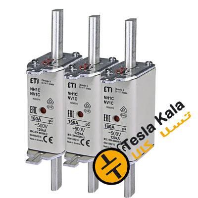 مجموعه سه تایی فیوز کاردی ETI آمپر 160 تا 250، gG  با نشانگر، سایز  1