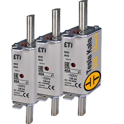مجموعه سه تایی فیوز کاردی ETI آمپر 6 تا 160، gG پایه بلند با نشانگر، سایز 0