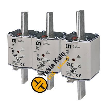 مجموعه سه تایی فیوز کاردی ETI آمپر 300 تا 400، gG با نشانگر، سایز 2