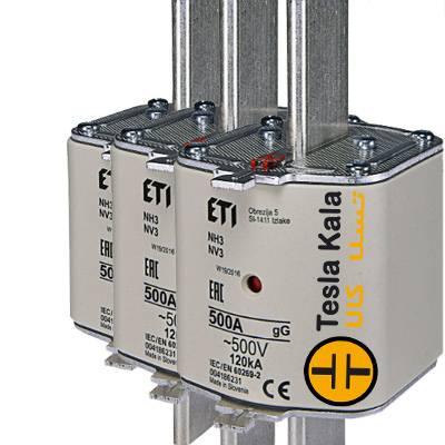 مجموعه سه تایی فیوز کاردی ETI آمپر 425 تا 630، gG با نشانگر، سایز 3