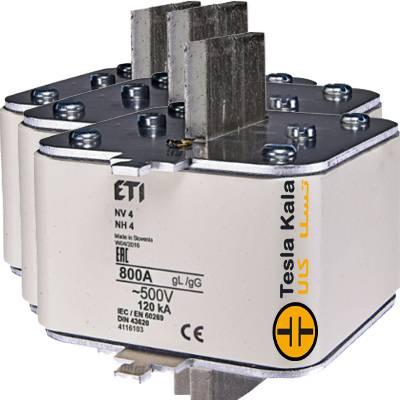 مجموعه سه تایی فیوز کاردی ETI آمپر 800 تا 1250، gG با نشانگر، سایز 4
