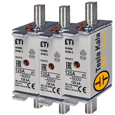 مجموعه سه تایی فیوز کاردی ETI آمپر 2 تا 160، gG پایه کوتاه با نشانگر، سایز  00C