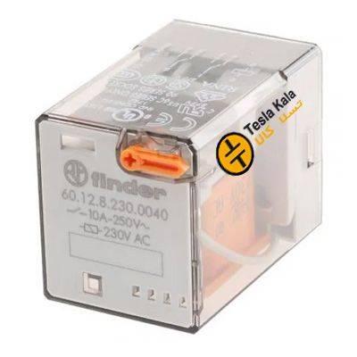 رله شیشه ای فیندر 8 پایه 2NO2NC ولتاژ کاری و کنترلی 220VAC مدل finder 60.12