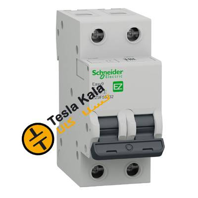 کلید مینیاتوری اشنایدر،دو پل، 16 آمپر، 6 کیلو آمپر C16 schneider